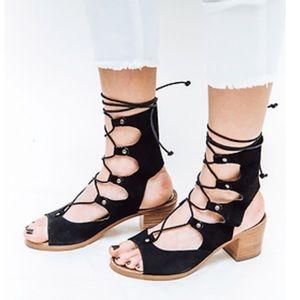 Black Boho Chic Gladiator LaceUp Block Heel Sandal
